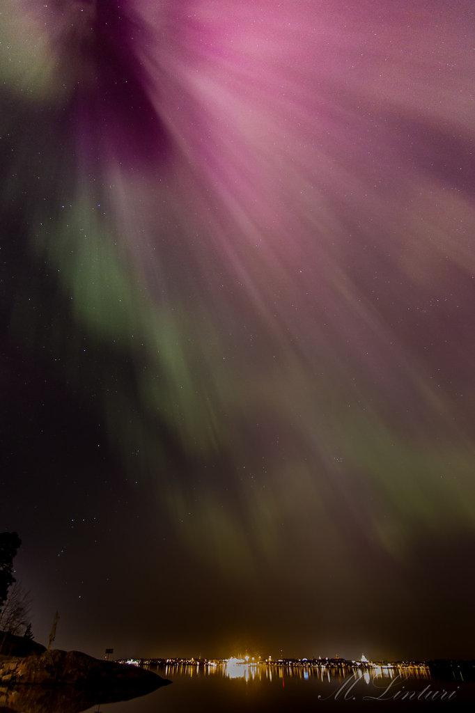 Aurora over Helsinki city