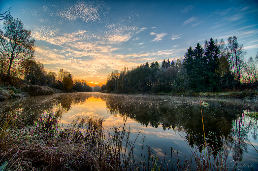 Sunrise at river Vantaa on a cold morning